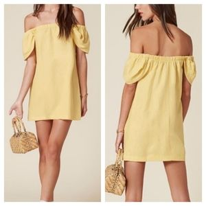 Reformation Jony linen mini dress yellow small